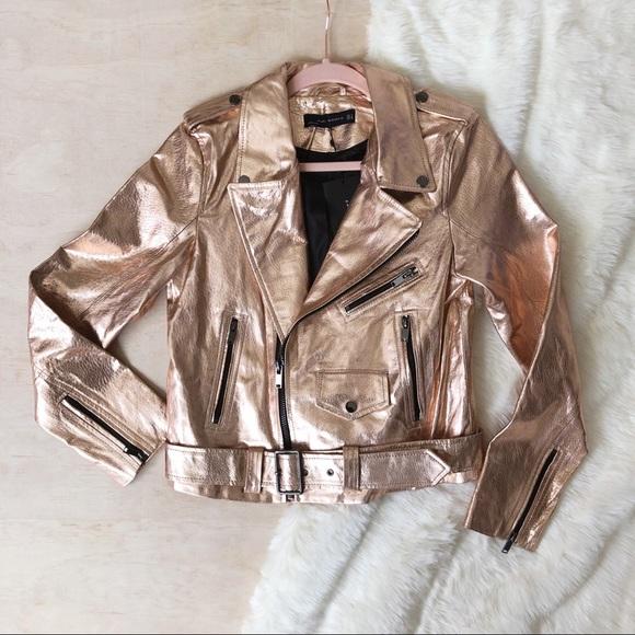 c2243fee Zara Jackets & Coats | Nwt Rose Gold Leather Moto Jacket | Poshmark